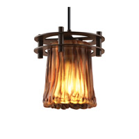 Justice Design GLA-8265-16-AMBR-DBRZ-BKCD Veneto Luce 1 Light 7 inch Dark Bronze Pendant Ceiling Light in Black Cord, Amber (Veneto Luce), Cylinder with Rippled Rim photo thumbnail