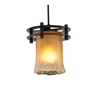 Veneto Luce 1 Light 7 inch Matte Black Pendant Ceiling Light in Black Cord, Gold with Clear Rim (Veneto Luce), Cylinder with Rippled Rim