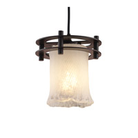 Justice Design Veneto Luce 1 Light Pendant in Dark Bronze GLA-8265-16-WTFR-DBRZ-BKCD