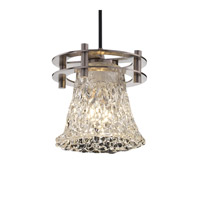 Justice Design Veneto Luce 1 Light Pendant in Brushed Nickel GLA-8265-20-LACE-NCKL-BKCD