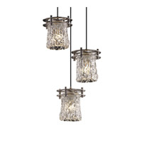 Justice Design Veneto Luce 3 Light Pendant in Brushed Nickel GLA-8266-16-CLRT-NCKL-BKCD
