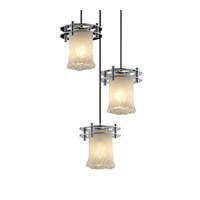 Justice Design Veneto Luce 3 Light Pendant in Polished Chrome GLA-8266-16-WHTW-CROM-BKCD