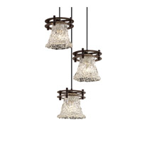 Justice Design GLA-8266-20-LACE-DBRZ-BKCD Veneto Luce 3 Light 7 inch Dark Bronze Pendant Ceiling Light in Lace (Veneto Luce), Round Flared photo thumbnail