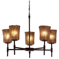 Justice Design Group Veneto Luce 5 Light Chandelier in Dark Bronze GLA-8410-16-AMBR-DBRZ