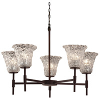 Justice Design Group Veneto Luce 5 Light Chandelier in Dark Bronze GLA-8410-20-LACE-DBRZ