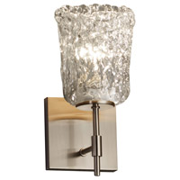 Veneto Luce 1 Light 5 inch Brushed Nickel Wall Sconce Wall Light in Clear Textured (Veneto Luce), Cylinder with Rippled Rim, Fluorescent