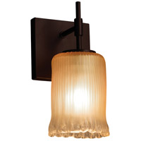 Justice Design GLA-8411-16-GLDC-DBRZ Veneto Luce 1 Light 5 inch Dark Bronze Wall Sconce Wall Light in Gold with Clear Rim (Veneto Luce), Cylinder with Rippled Rim, Incandescent photo thumbnail