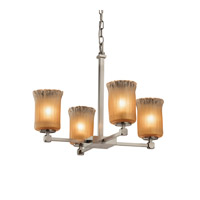 Veneto Luce LED 22 inch Brushed Nickel Chandelier Ceiling Light in Gold with Clear Rim (Veneto Luce), Cylinder with Rippled Rim, 2800 Lm 4 Light LED