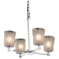 Veneto Luce LED 22 inch Polished Chrome Chandelier Ceiling Light in White Frosted (Veneto Luce), Cylinder with Rippled Rim, 2800 Lm 4 Light LED