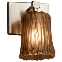 Veneto Luce 1 Light 6 inch Brushed Nickel Wall Sconce Wall Light in Amber (Veneto Luce), Cylinder with Rippled Rim, Fluorescent