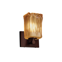 Veneto Luce 1 Light 6 inch Dark Bronze Wall Sconce Wall Light in Amber (Veneto Luce), Square with Rippled Rim, Fluorescent