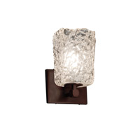 Veneto Luce 1 Light 6 inch Dark Bronze Wall Sconce Wall Light in Clear Textured (Veneto Luce), Square with Rippled Rim, Fluorescent
