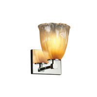 Veneto Luce 1 Light 6 inch Polished Chrome Wall Sconce Wall Light in Gold with Clear Rim (Veneto Luce), Tulip with Rippled Rim, Fluorescent