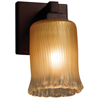 Justice Design GLA-8431-16-GLDC-DBRZ-LED1-700 Veneto Luce LED 5 inch Dark Bronze Wall Sconce Wall Light in 700 Lm LED, Gold with Clear Rim (Veneto Luce), Cylinder with Rippled Rim photo thumbnail