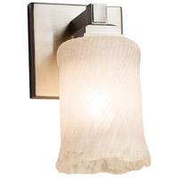 Veneto Luce 1 Light 5 inch Brushed Nickel Wall Sconce Wall Light in Whitewash (Veneto Luce), Cylinder with Rippled Rim, Fluorescent