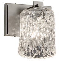 Justice Design GLA-8441-16-CLRT-NCKL Veneto Luce 1 Light 7 inch Wall Sconce Wall Light in Brushed Nickel, Clear Textured (Veneto Luce), Cylinder with Rippled Rim, Incandescent photo thumbnail