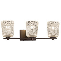 Justice Design GLA-8443-40-LACE-MBLK Veneto Luce 3 Light 26 inch Vanity Light Wall Light in Matte Black, Lace (Veneto Luce), Square Flared, Incandescent