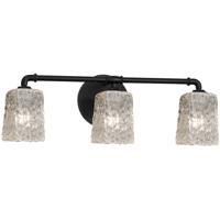 Justice Design GLA-8463-26-CLRT-MBLK Veneto Luce 3 Light 24 inch Matte Black Bath Bar Wall Light Square w/ Rippled Rim
