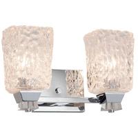 Justice Design GLA-8472-16-AMBR-DBRZ Veneto Luce 2 Light 14 inch Dark Bronze Bath Bar Wall Light in Amber (Veneto Luce), Cylinder with Rippled Rim, Incandescent