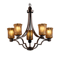 Justice Design GLA-8500-16-AMBR-DBRZ Veneto Luce 5 Light Dark Bronze Chandelier Ceiling Light in Amber (Veneto Luce), Cylinder with Rippled Rim