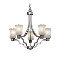 Justice Design GLA-8500-16-WHTW-NCKL Veneto Luce 5 Light 28 inch Brushed Nickel Chandelier Ceiling Light in Whitewash (Veneto Luce), Cylinder with Rippled Rim