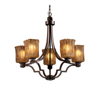 Justice Design Veneto Luce Argyle 5-Light Chandelier in Dark Bronze GLA-8500-26-AMBR-DBRZ