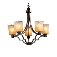 Veneto Luce 5 Light Dark Bronze Chandelier Ceiling Light in Gold with Clear Rim (Veneto Luce), Square with Rippled Rim