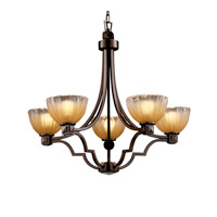 Veneto Luce 5 Light Dark Bronze Chandelier Ceiling Light in Gold with Clear Rim (Veneto Luce), Bowl with Rippled Rim