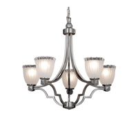 Justice Design GLA-8500-56-WTFR-NCKL Veneto Luce 5 Light 28 inch Brushed Nickel Chandelier Ceiling Light in White Frosted (Veneto Luce), Tulip with Rippled Rim