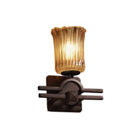 Veneto Luce 1 Light 9 inch Dark Bronze Wall Sconce Wall Light in Amber (Veneto Luce), Cylinder with Rippled Rim