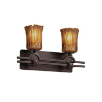 Justice Design GLA-8502-16-AMBR-DBRZ Veneto Luce 2 Light 19 inch Dark Bronze Bath Bar Wall Light in Amber (Veneto Luce), Cylinder with Rippled Rim