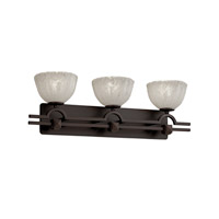Justice Design Veneto Luce Argyle 3-Light Bath Bar in Dark Bronze GLA-8503-36-WHTW-DBRZ