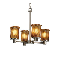Justice Design GLA-8510-16-AMBR-NCKL Veneto Luce 4 Light 20 inch Brushed Nickel Chandelier Ceiling Light in Amber (Veneto Luce), Cylinder with Rippled Rim