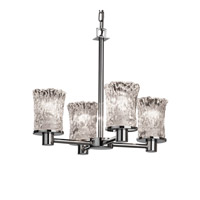 Justice Design Veneto Luce Rondo 4-Light Chandelier in Polished Chrome GLA-8510-16-CLRT-CROM