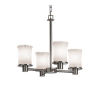 Justice Design GLA-8510-16-WHTW-NCKL Veneto Luce 4 Light 20 inch Brushed Nickel Chandelier Ceiling Light in Whitewash (Veneto Luce), Cylinder with Rippled Rim