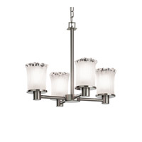 Justice Design GLA-8510-16-WTFR-NCKL Veneto Luce 4 Light 20 inch Brushed Nickel Chandelier Ceiling Light in White Frosted (Veneto Luce), Cylinder with Rippled Rim