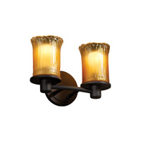 Justice Design GLA-8512-16-GLDC-MBLK Veneto Luce 2 Light 12 inch Matte Black Bath Bar Wall Light in Gold with Clear Rim (Veneto Luce) photo thumbnail