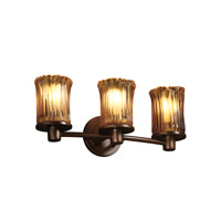 Justice Design Veneto Luce Rondo 3-Light Bath Bar in Dark Bronze GLA-8513-16-AMBR-DBRZ