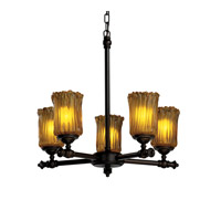 Justice Design Veneto Luce Tradition 5-Light Chandelier in Dark Bronze GLA-8520-16-AMBR-DBRZ