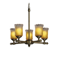 Justice Design Veneto Luce Tradition 5-Light Chandelier in Antique Brass GLA-8520-16-GLDC-ABRS