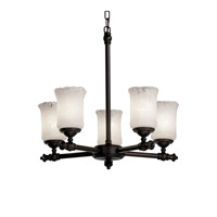 Justice Design Veneto Luce Tradition 5-Light Chandelier in Dark Bronze GLA-8520-16-WHTW-DBRZ