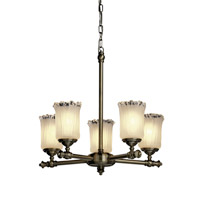 Justice Design Veneto Luce Tradition 5-Light Chandelier in Antique Brass GLA-8520-16-WTFR-ABRS photo thumbnail