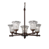 Justice Design Veneto Luce Tradition 5-Light Chandelier in Dark Bronze GLA-8520-20-LACE-DBRZ