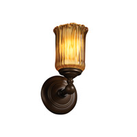 Justice Design GLA-8521-16-AMBR-DBRZ Veneto Luce 1 Light 6 inch Dark Bronze Wall Sconce Wall Light in Amber (Veneto Luce), Cylinder with Rippled Rim