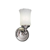 Justice Design GLA-8521-16-WHTW-CROM Veneto Luce 1 Light 6 inch Polished Chrome Wall Sconce Wall Light in Whitewash (Veneto Luce), Cylinder with Rippled Rim