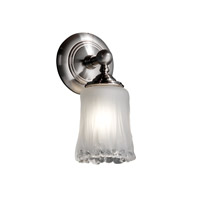 Veneto Luce 1 Light 6 inch Brushed Nickel Wall Sconce Wall Light in White Frosted (Veneto Luce), Cylinder with Rippled Rim