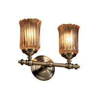 Justice Design GLA-8522-16-AMBR-ABRS Veneto Luce 2 Light 14 inch Antique Brass Bath Bar Wall Light in Amber (Veneto Luce), Cylinder with Rippled Rim