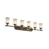 Justice Design GLA-8526-16-WTFR-ABRS Veneto Luce 6 Light 48 inch Antique Brass Bath Bar Wall Light in White Frosted (Veneto Luce), Cylinder with Rippled Rim