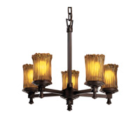 Justice Design Veneto Luce Deco 5-Light Chandelier in Dark Bronze GLA-8530-16-AMBR-DBRZ