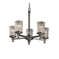 Justice Design Veneto Luce Deco 5-Light Chandelier in Brushed Nickel GLA-8530-16-CLRT-NCKL